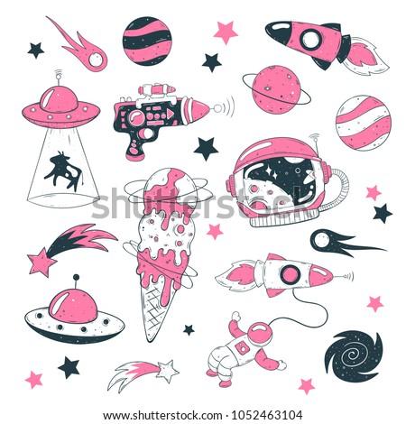 Stock Photo Space illustrations hand drawn vector set: UFO, rocket, comet, astronaut, planet, milky way, helmet, comet.