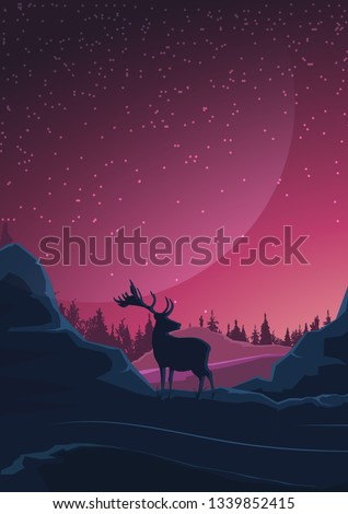 Space landscape in purple tones, nature on another planet and silhouette of a deer. Vector illustration.