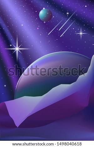 space landscape on a dark blue