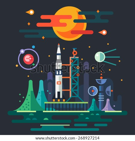 Space landscape, rocket launch on the background of a sunset. The sun, planets, stars, comets, moon, clouds, mountains, space station, satellite. Vector flat illustrations