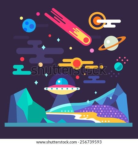Space landscape: stars, planets, comet, ufo, stardust. Solar system. Relief of planet: blue mountains, purple lands, yellow sand. Vector flat illustrations and background