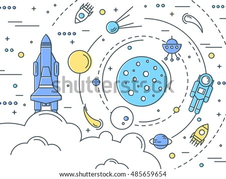 space line art design with