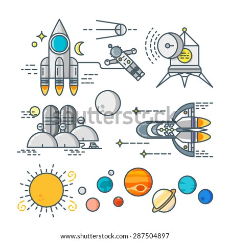 space line art icon set cosmos