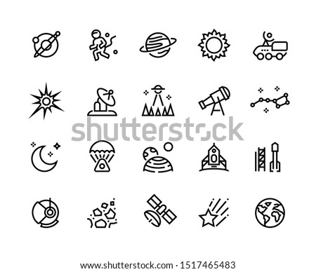 Space line icons. Planets and stars infographic elements with astronaut alien rocket and other astronomy and cosmos vector symbols.