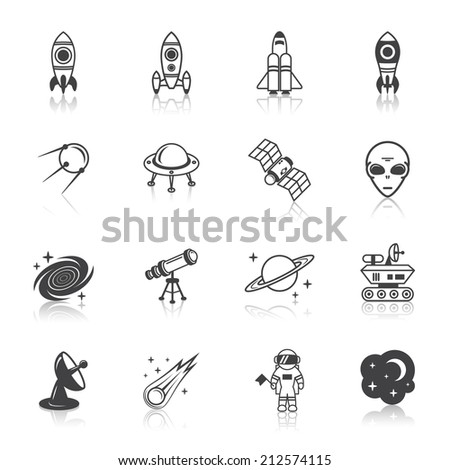 space line icons set of shuttle