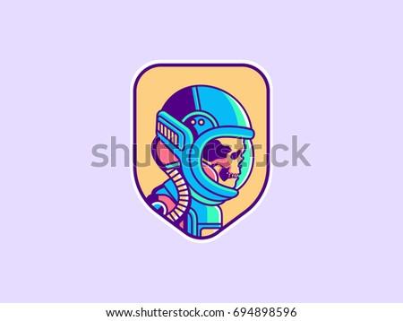 space logo vintage astronaut