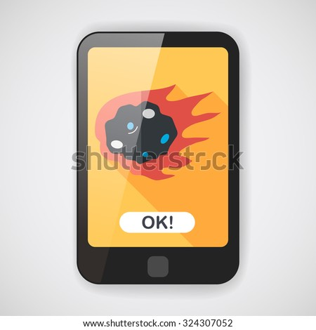 space meteorite flat icon with