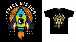 Space mission design with rocket illustration, ready for print on kids t-shirt.