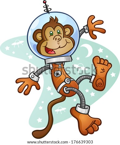 Space Monkey Cartoon Character Exploring the Cosmos
