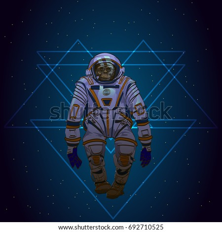 space monkey cosmonaut with