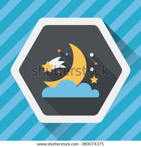 space moon and star flat icon