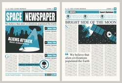 Space Newspaper with illegible text, headlines and illustrations on the topic of extraterrestrial civilizations. Vector template for a newspaper layout on a theme of invasion of UFOs and aliens attack