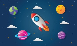 space night sky. moon, stars, rocket and clouds in midnight. paper art style. vector illustration.