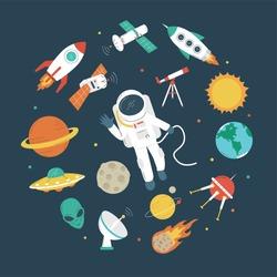 Space objects. Astronaut, rocket, planets, UFO, satellite, etc