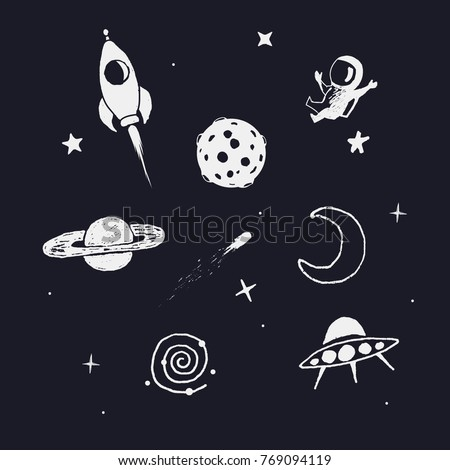 space objects. Hand drawn doodle collection.Prints design