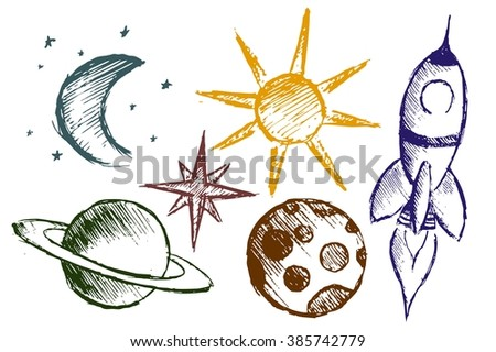 space objects with rocket