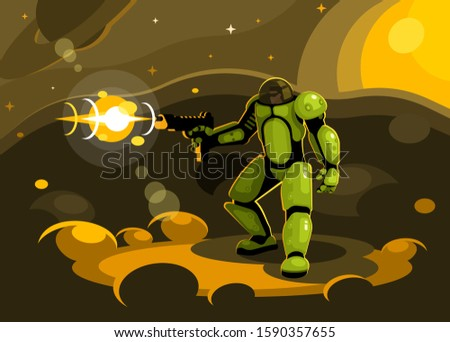 space paratrooper shoots with a