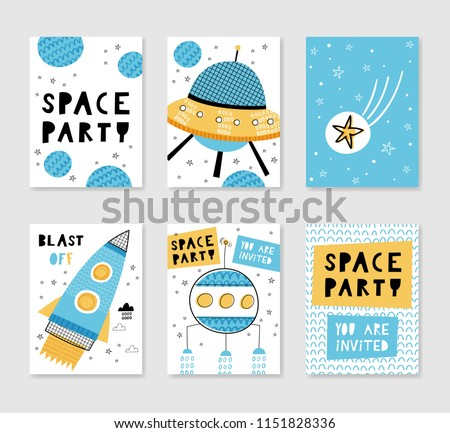 Space party. Set of card templates. Hand drawn graphic for typography poster, card, label, brochure, flyer, page, banner, baby wear, nursery. Vector illustration in blue and yellow.