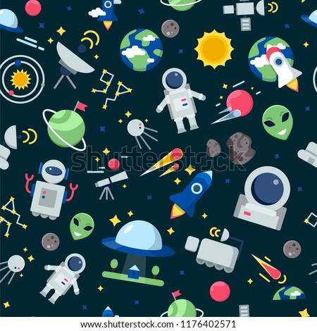 Space pattern. Shuttle rocket astronaut stars interstellar mars planets travel vector seamless cartoon pictures. Rocket and shuttle for travel, cartoon pattern universe illustration