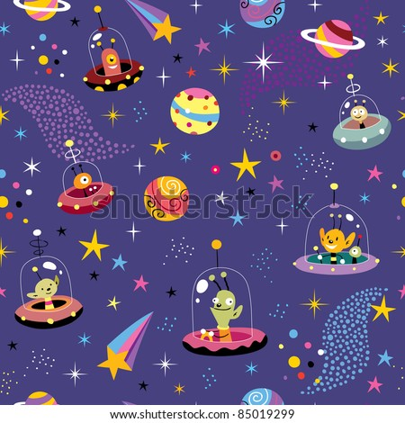 space pattern with cute aliens