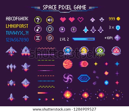 space pixel game isolated