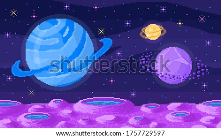 space planet in pixel art