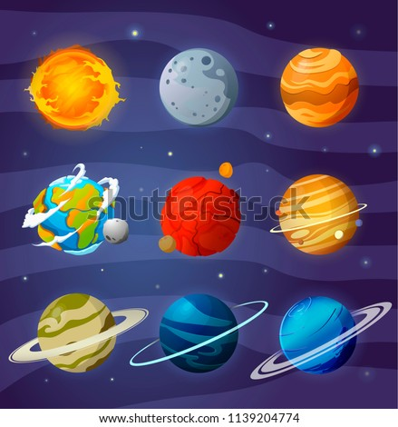 Space planets, asteroid, moon, fantastic cosmic illustration. Solar System planets isolated vector. Collection of  solar system planets.