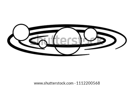 space planets orbiting isolated icon