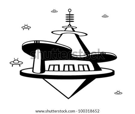 Space Port - Retro Clipart Illustration