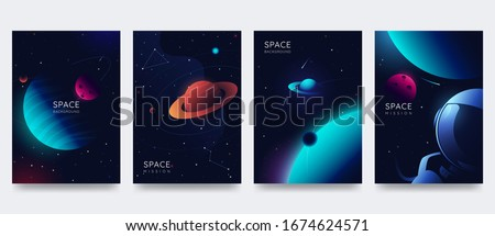 Space poster set. Outer space background with place for text. Cosmos scenes with planets, stars, comets. Vector illustration of galaxy. Greeting card collection in sci-fi style.