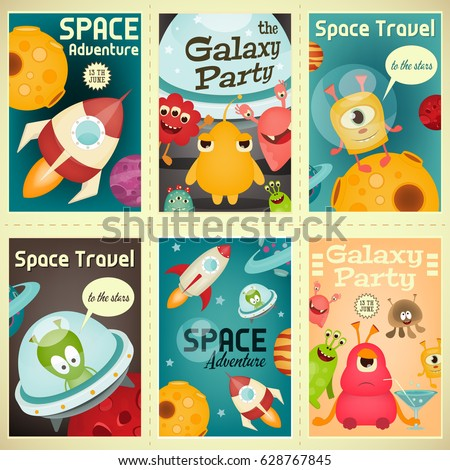 space posters set   cartoon