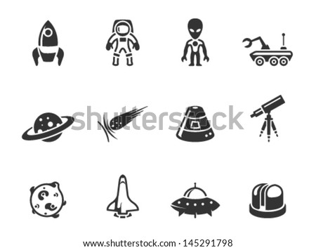 space related icons in single
