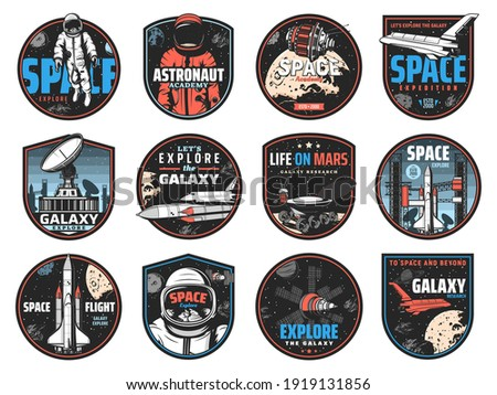 space retro badges with vector