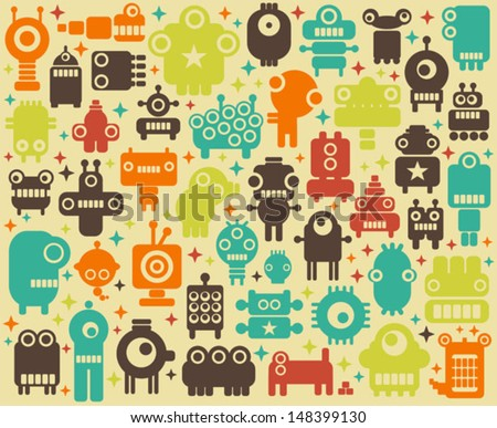 Stock Photo Space robots, monsters, alien colorful background. Vector illustration.