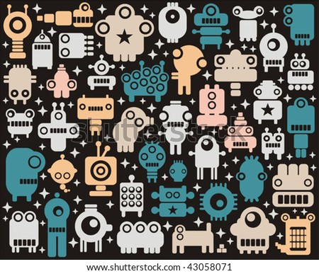 Space robots, monsters, alien  colorful background. Vector illustration.