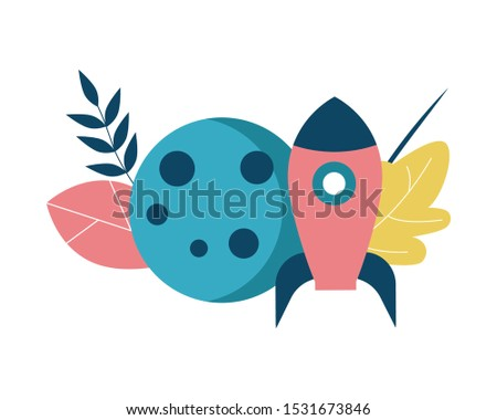 Space rocket and planet, moon, satellite. Icon on the theme of astronomy, the study of astronomy at school. Flat vector illustration.
