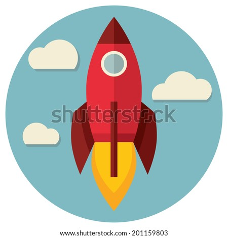 space rocket flying in sky