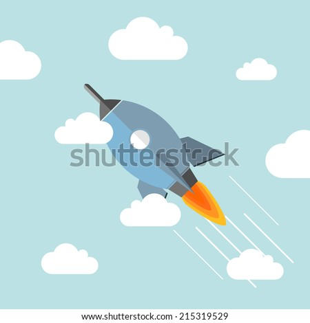 space rocket flying in sky