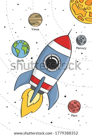 Space rocket flying in space with planets and stars. Educational design for kids. Poster for baby room. Childish print for nursery. Vector illustration. Сток-фото ©