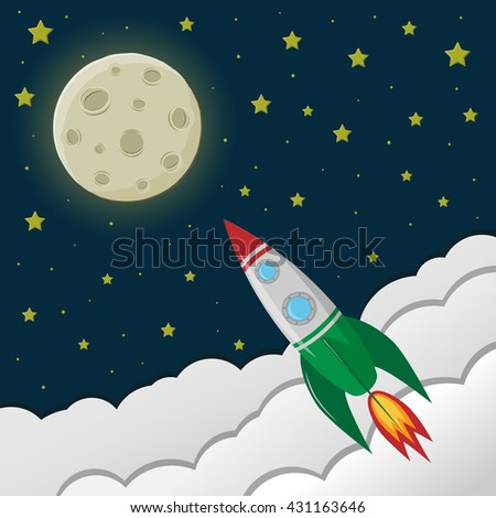 space rocket flying to the moon