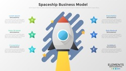 Space rocket flying up, 6 stars and text boxes. Concept of spaceship business model, successful startup launch. Creative infographic design template. Vector illustration for banner, presentation.