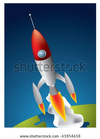 Space Rocket in space over the Earth