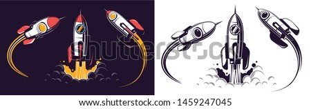 Space rocket launch and flies. Rocketship retro vintage vector illustration.