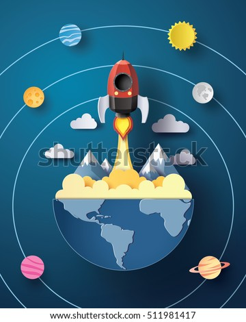 Space rocket launch and galaxy .paper art and  digital craft style.
