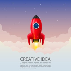 Space rocket launch, Creative idea, Rocket background, Vector illustration