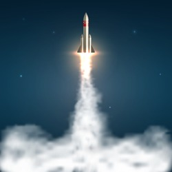 Space rocket launch. Spaceship take off with fire and jet smoky trail. Space travel and start up isolated vector illustration