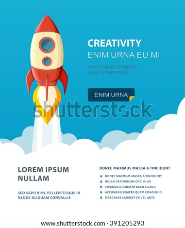 Space rocket launch. Start up concept flat style. Vector illustration.