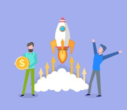 Space rocket launched by men, business startup man happy of success, male with gold coin, finance and assets of project, money capital base. Vector illustration in flat cartoon style