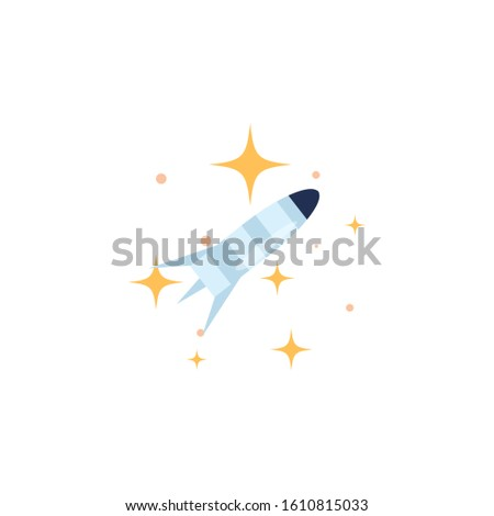 space rocket launcher flat style icon vector illustration design
