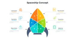 Space rocket or spaceship chart divided into 6 colorful pieces. Concept of six features of business project launch. Simple infographic design template. Modern flat vector illustration for banner.